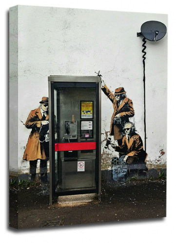 Banksy Art Telephone Spies Wall Canvas Peace Love Picture